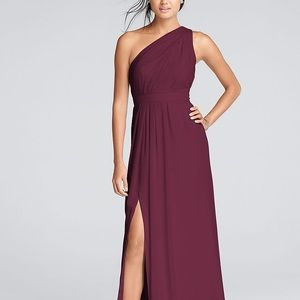 David's bridal wine color long bridesmaid dress